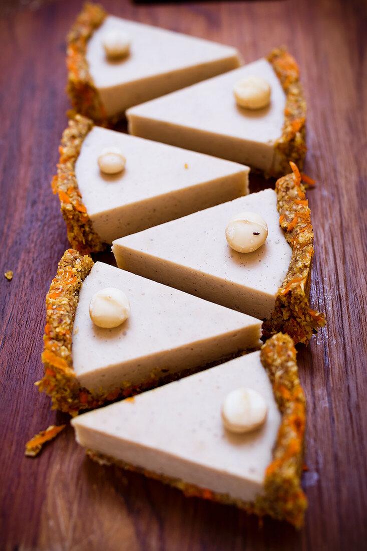 Raw carrot cake with macadamia nut vanilla cream (vegan)