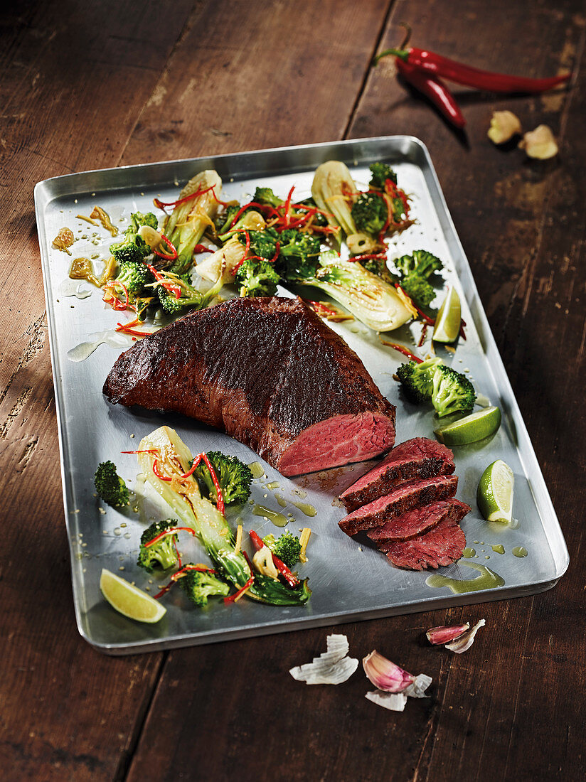 Rump cap made in a Beefer with bok choy and broccoli
