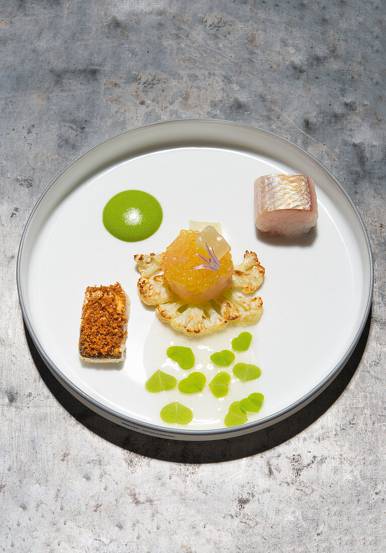 Variations of whitefish with cauliflower and wood sorrel