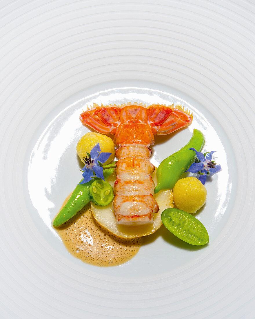 Norway lobster wirh ricotta gnocchi and lemon cucumber