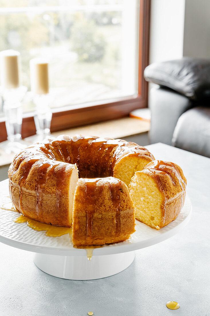 Lemon bundt cake with caramel sauce