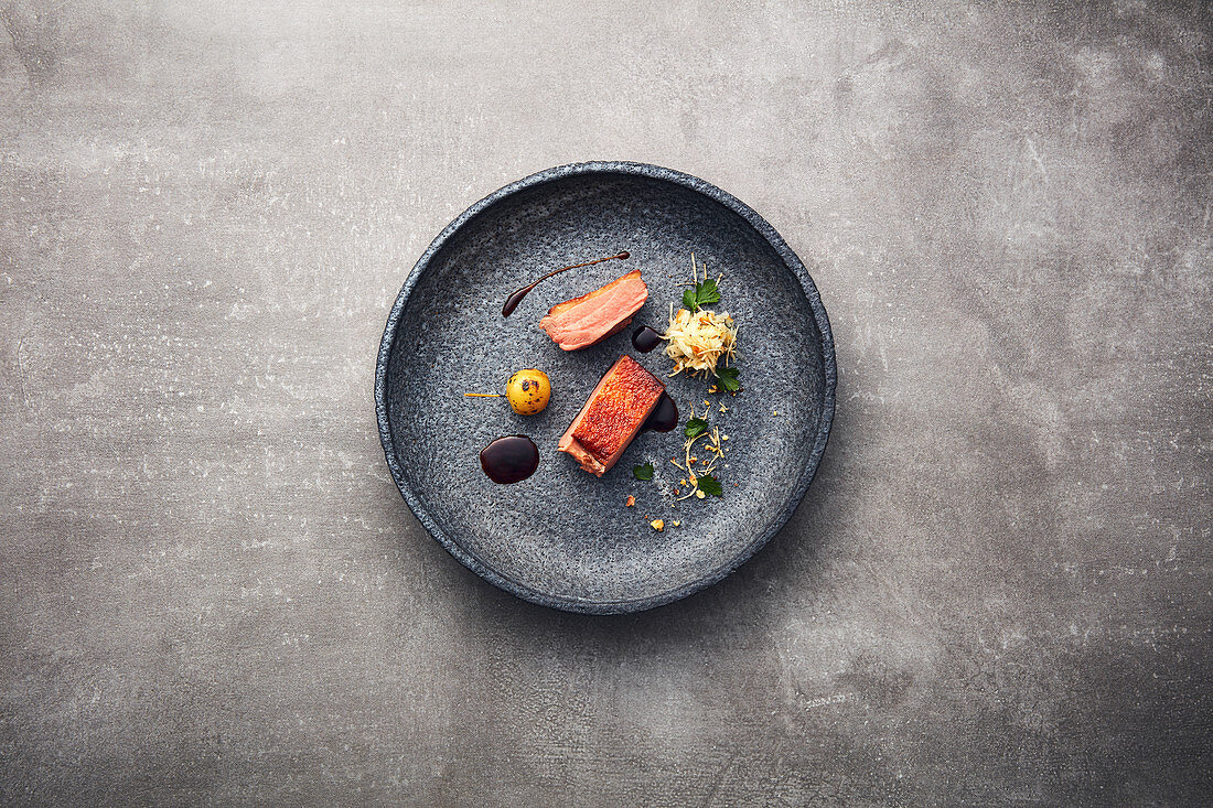Duck with raw celeriac, Japanese ornamental apples and duck jus