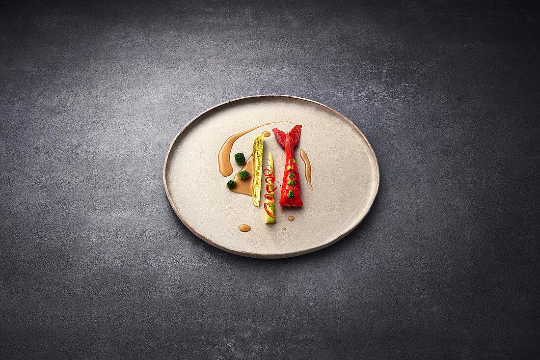 Carabinero with roasted broccoli, potato cream and galangal