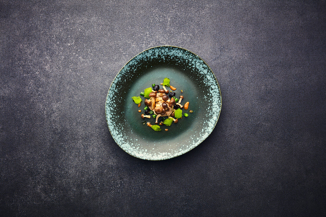 Shiitake and shimeji mushrooms with bean granita and plum sauce