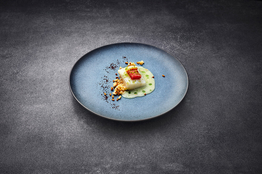 Turbot with Grisons air-dried beef and fermented wheat