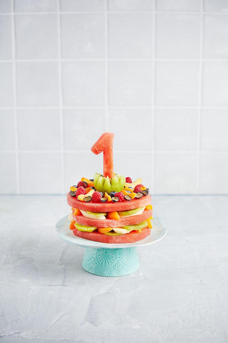 A fruity melon cake for a 1st birthday