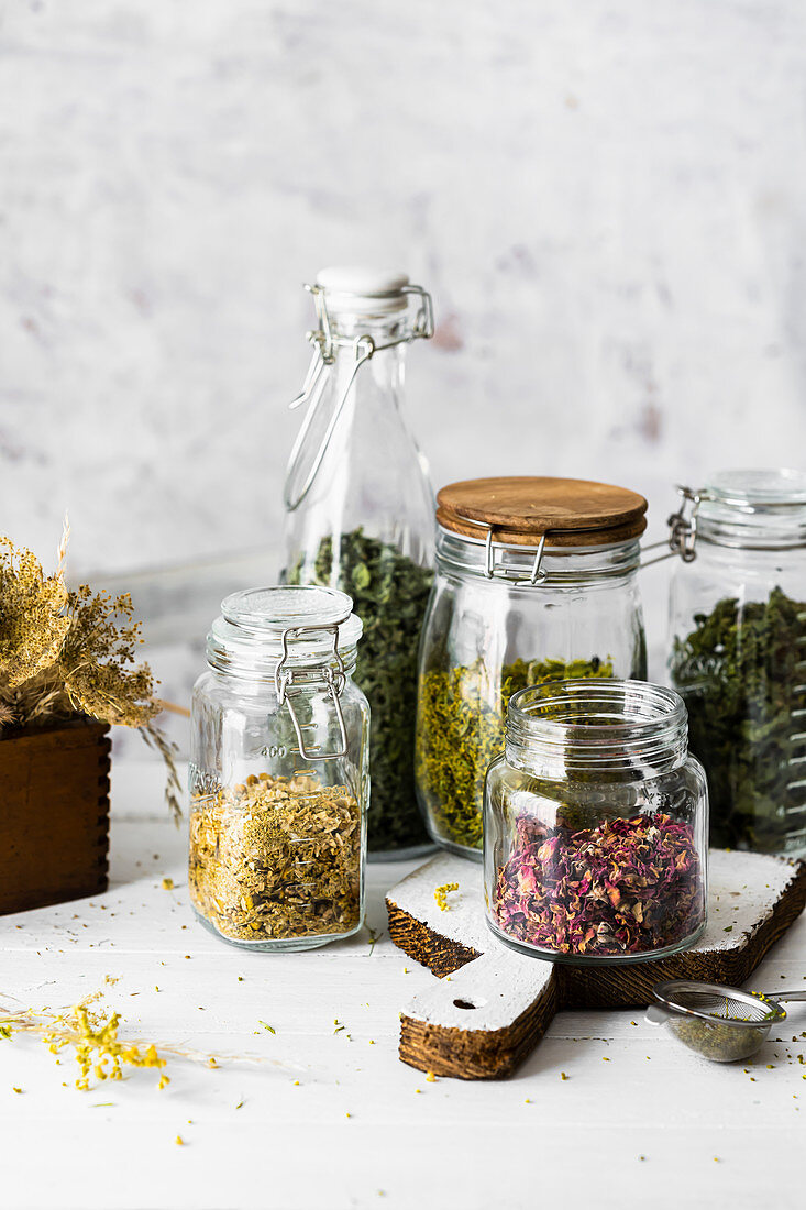 Dried herbs - nettle, camomile, rose, mint, goldenrod