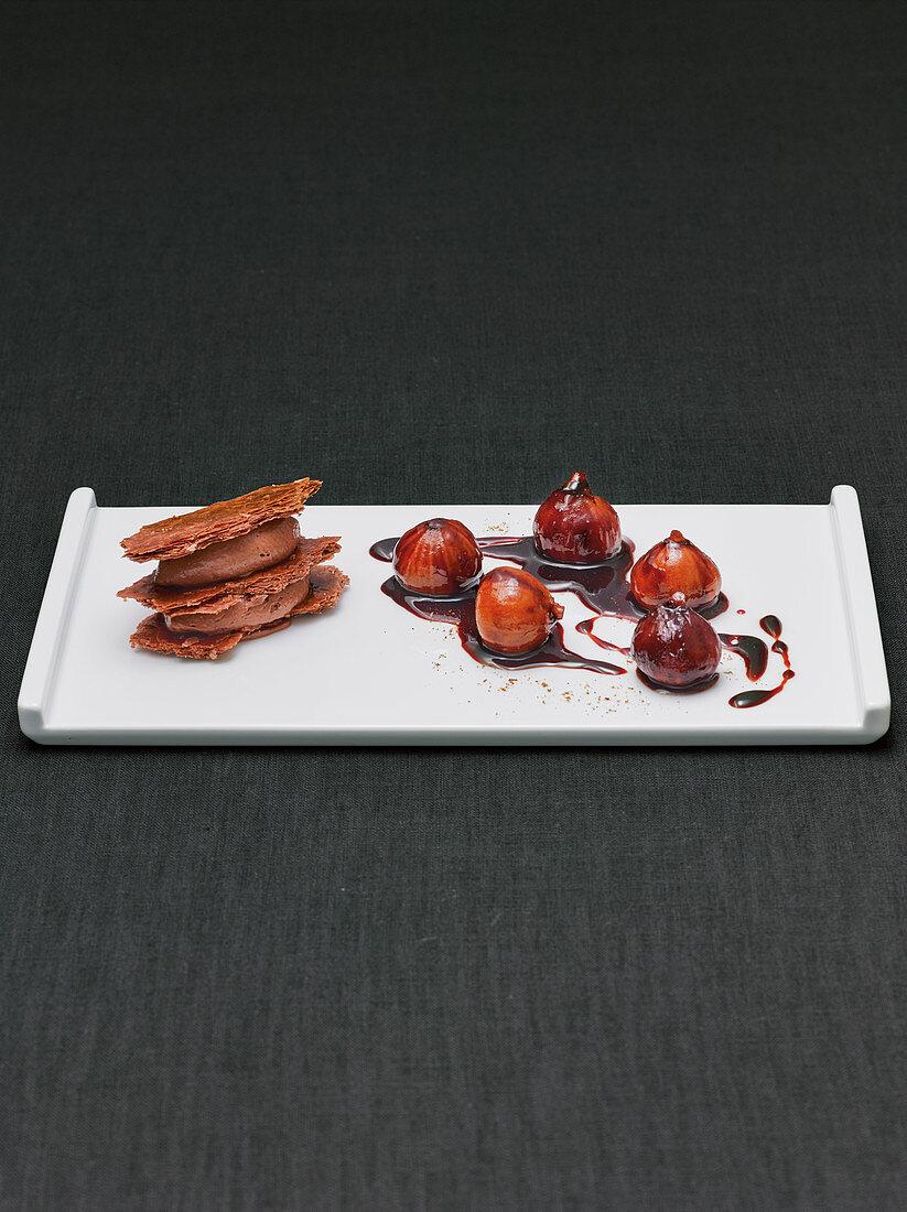 Black mille feuilles with quatre épices mousse and glazed figs