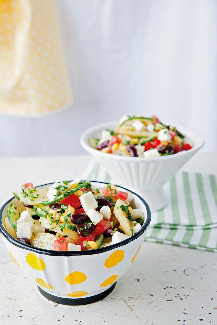 Mexican potato salad with corn, mozzarella and olives