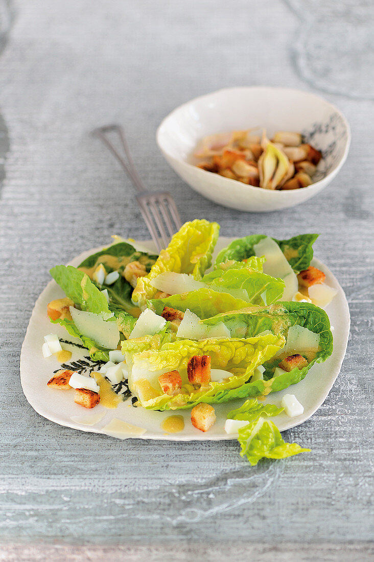 Caesar salad with anchovy fillets