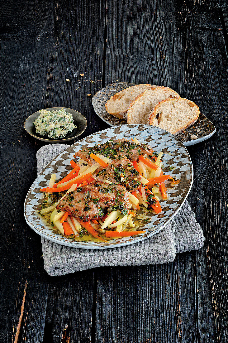 Veal schnitzel with caper and anchovy butter