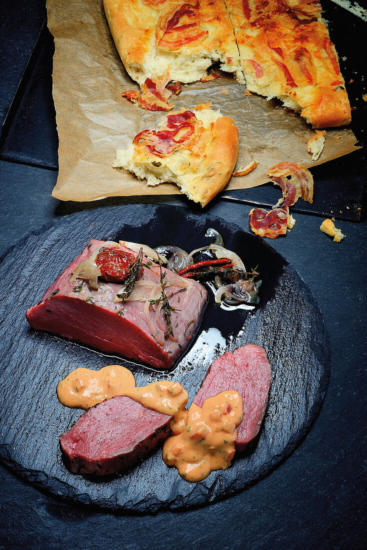 Sous vide cooked Chateaubriand with choron sauce and focaccia