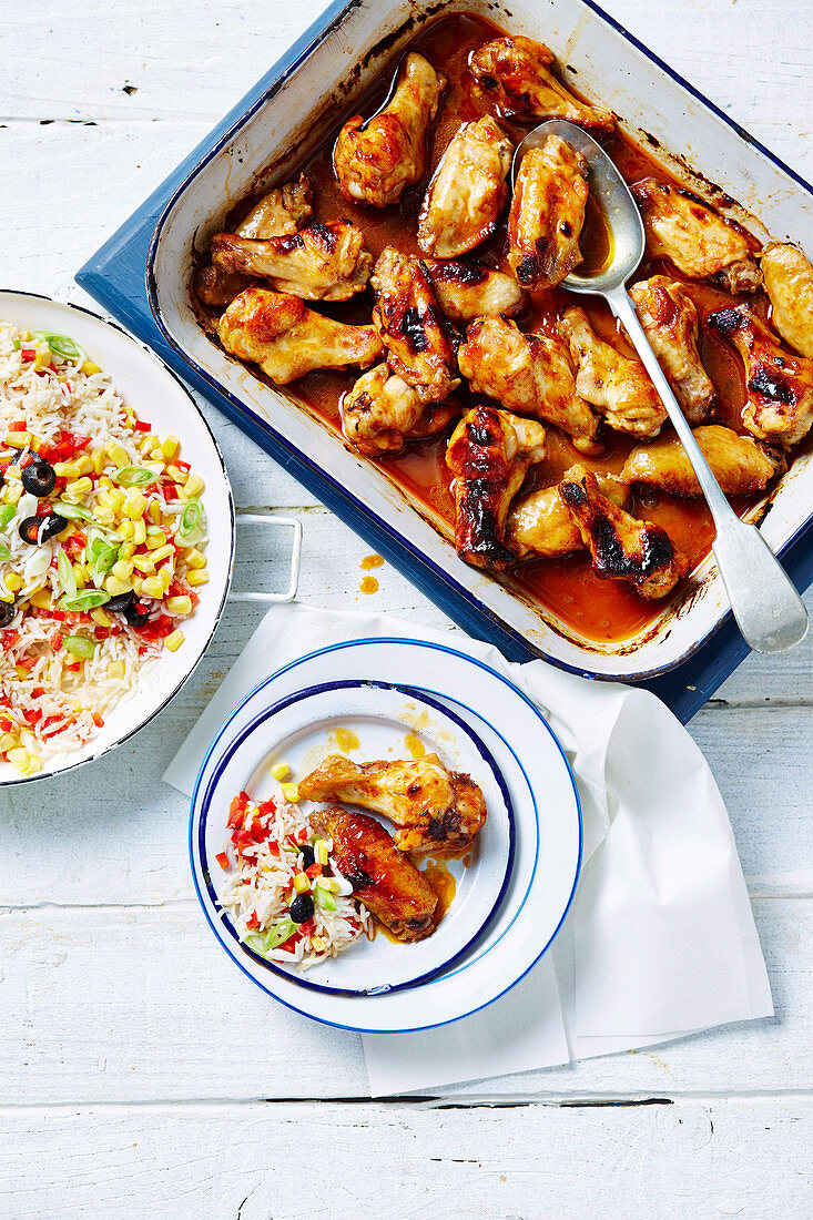 Sticky apricot chicken with rainbow rice