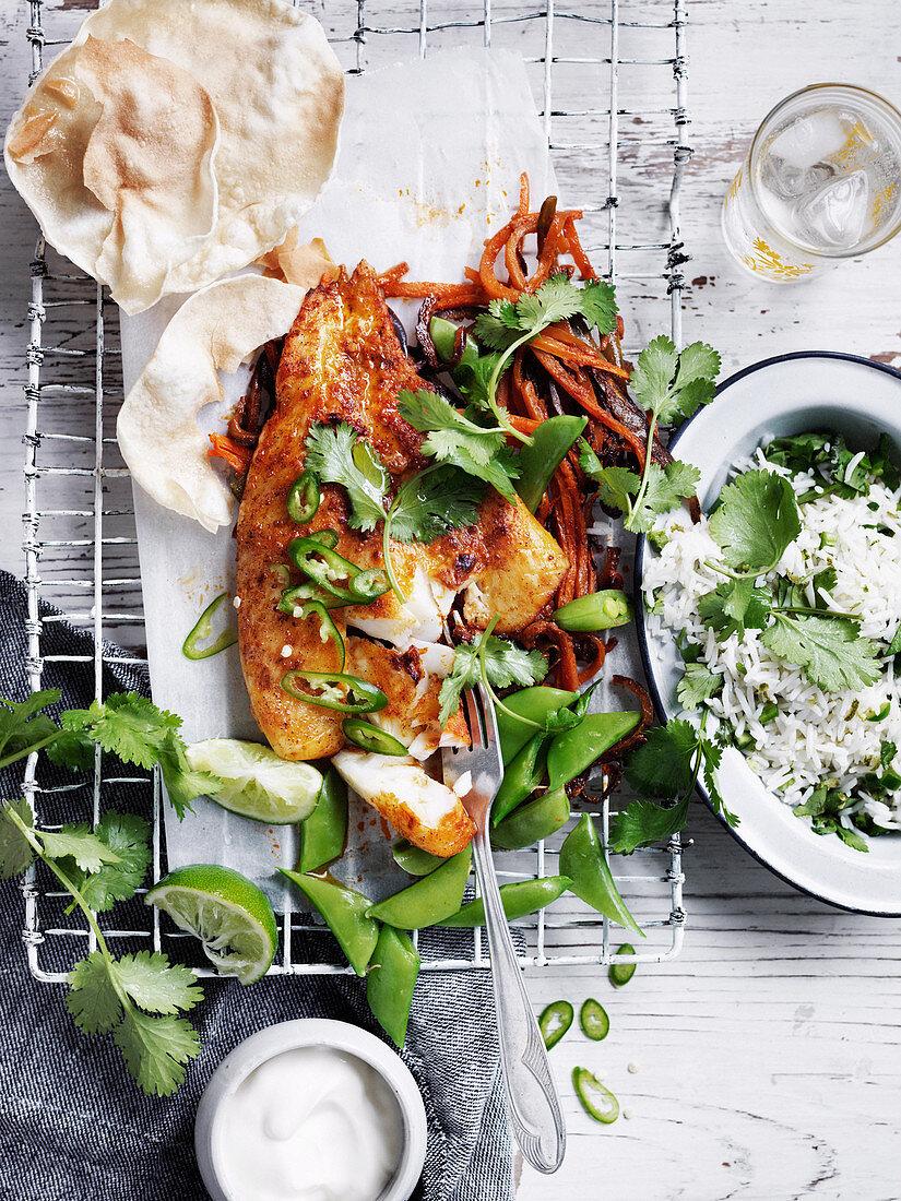 Tandoori fish with green chilli rice