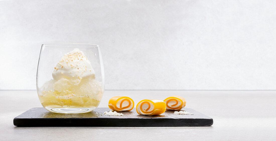 Monkey 47 gin, lemon rolls and juniper dust