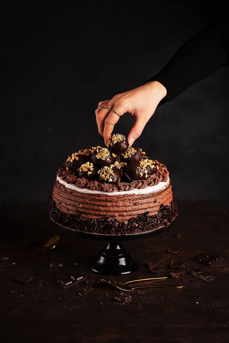 Chocolate cake with chocolate pralines