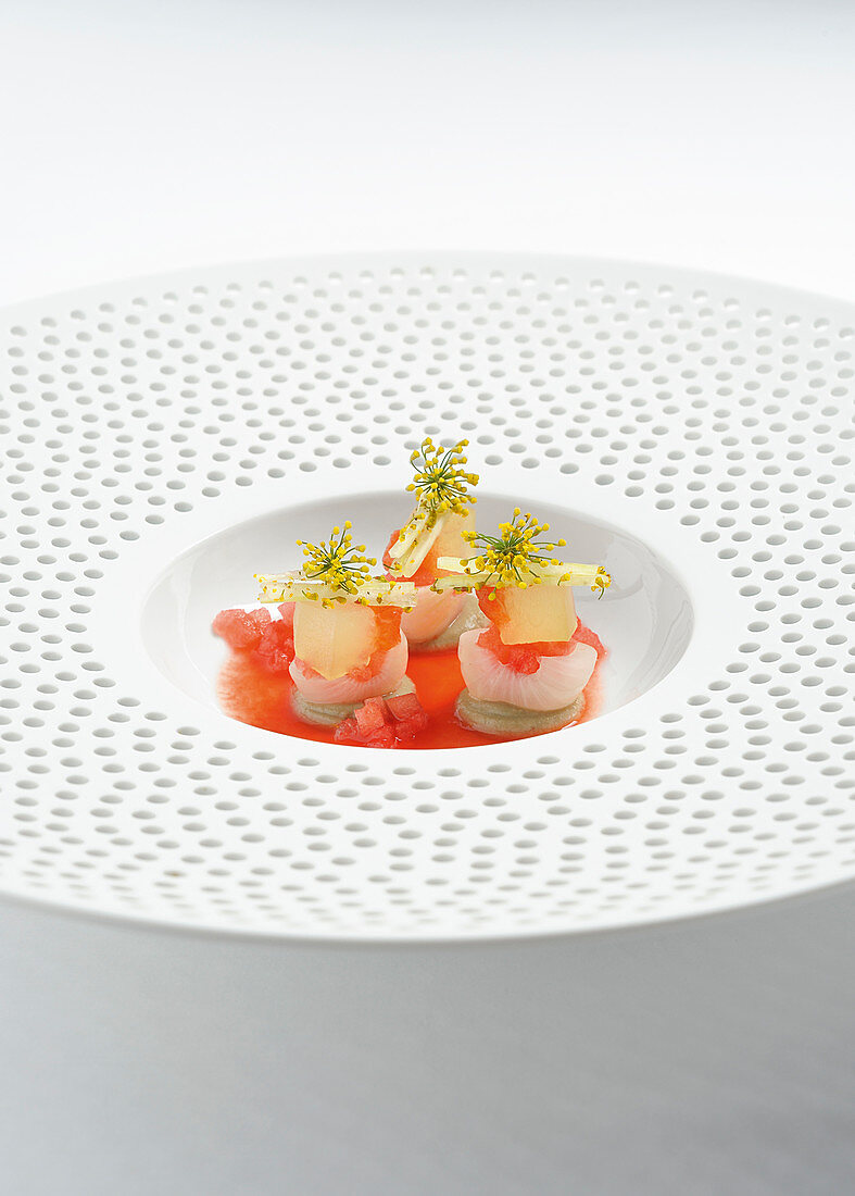 Variations of watermelon with onions and lentil cream