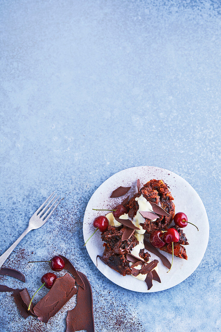 Black forest Christmas pudding