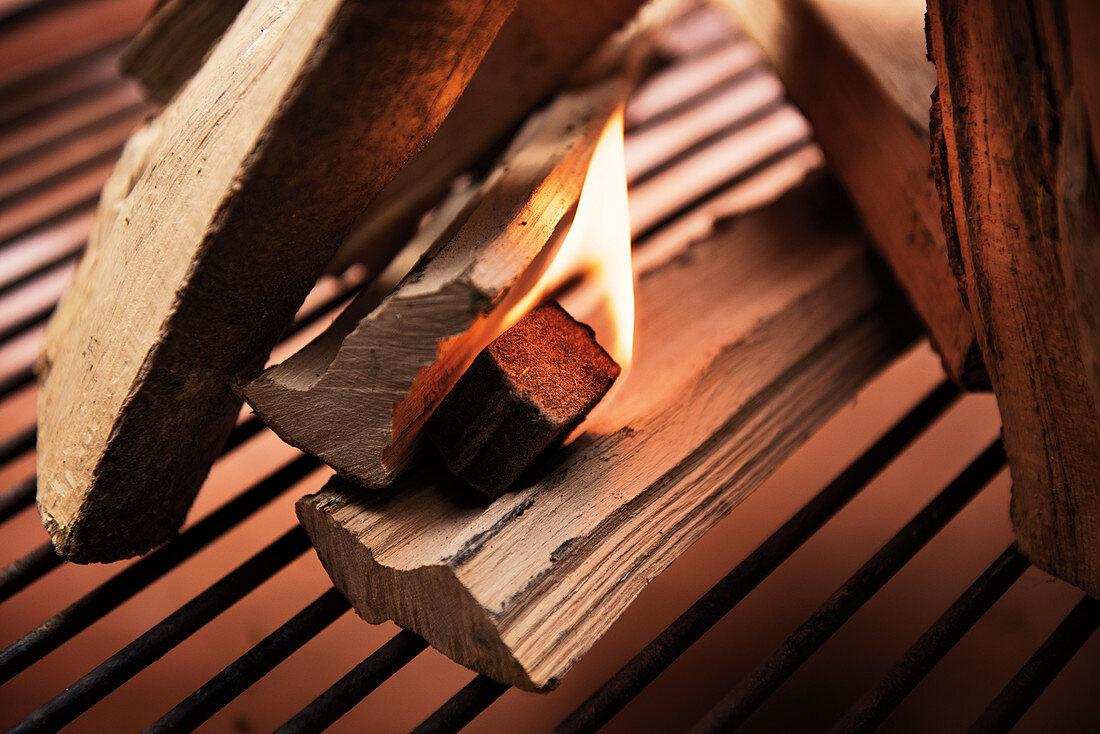 Burning grill lighter between logs