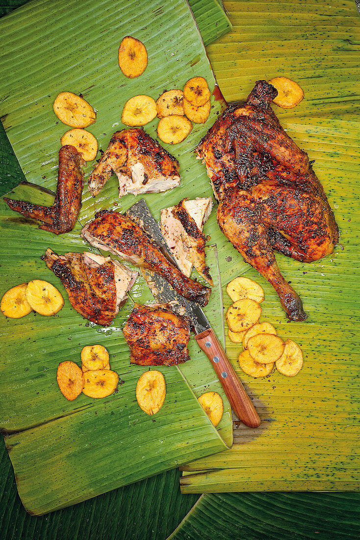 Grilled jerk chicken with plantain chips