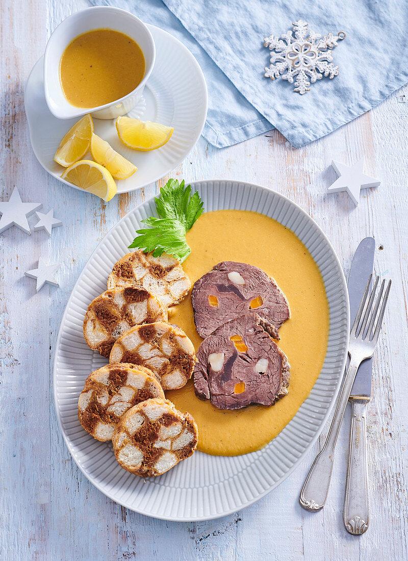 Festive sirloin and gingerbread dumplings