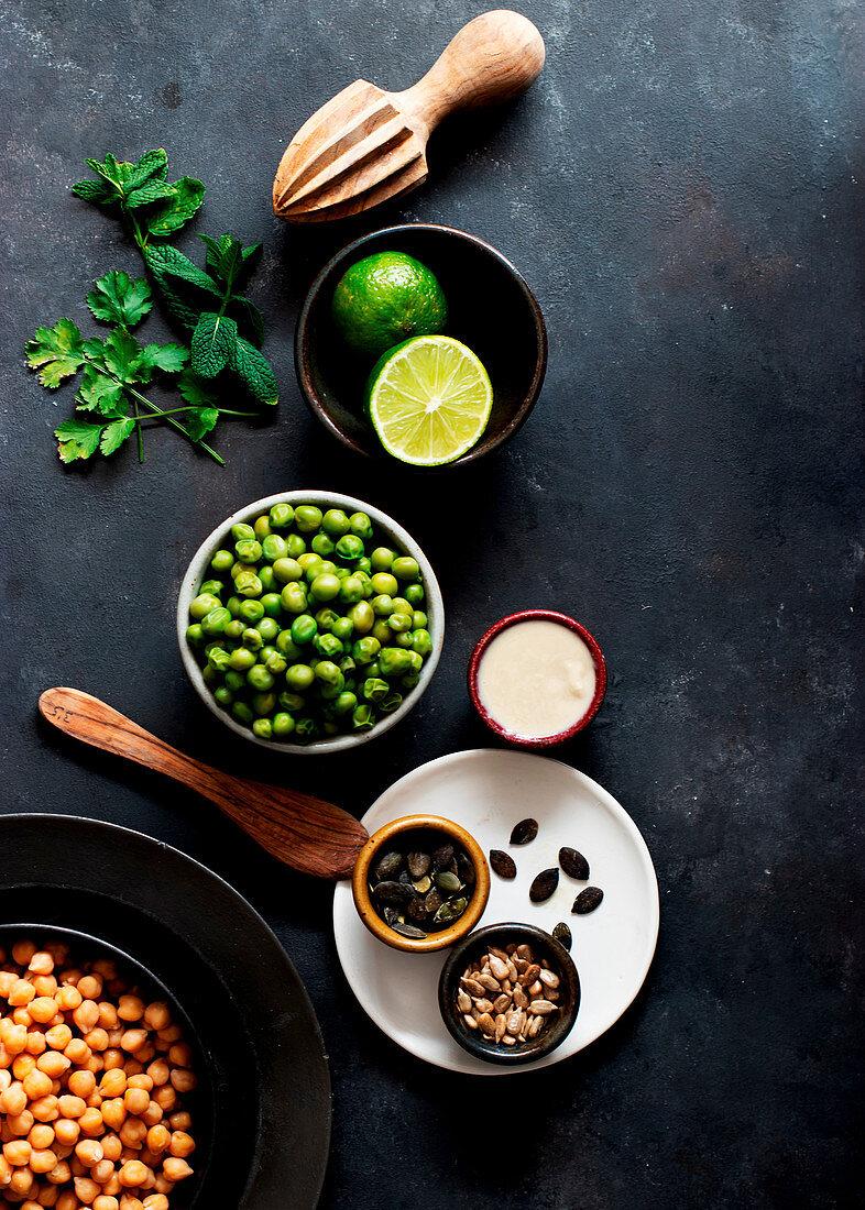 Zutaten für Erbsen-Hummus