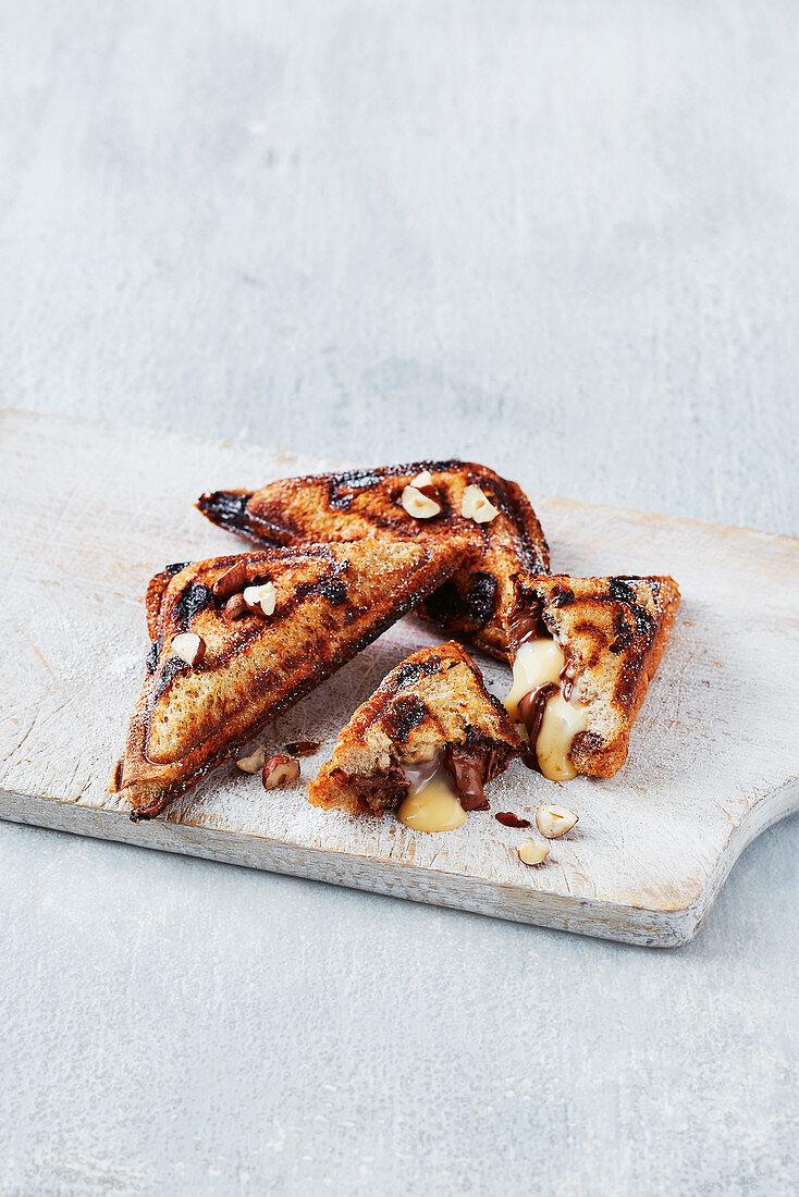 Chocolate cream, custard bread and butter pudding jaffle