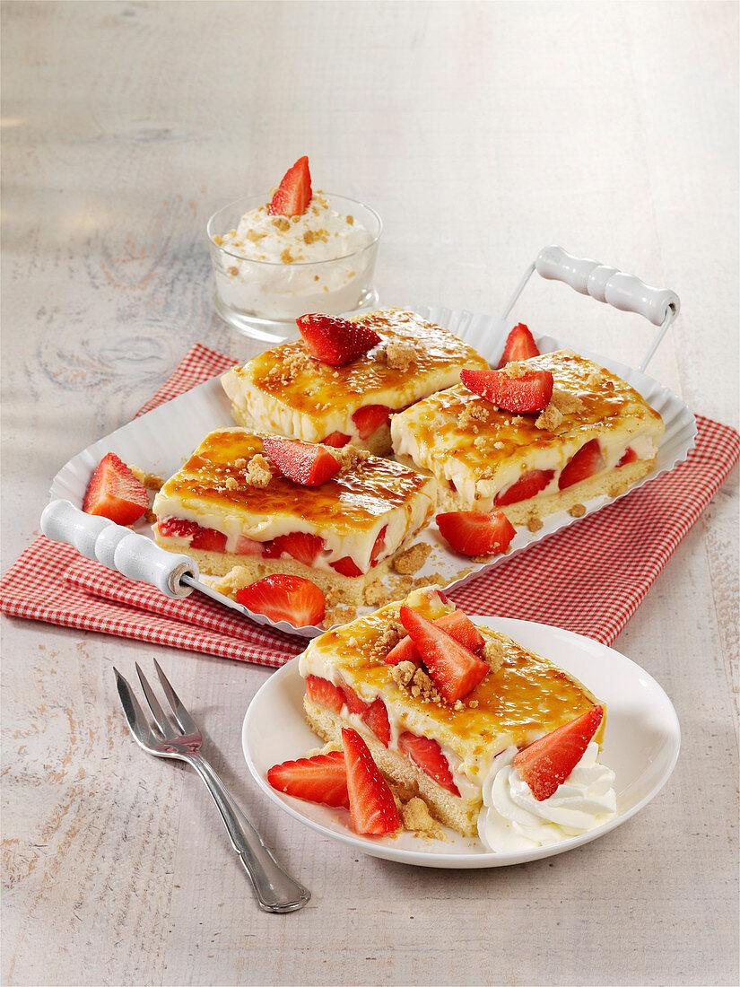 Caramelised strawberry cake