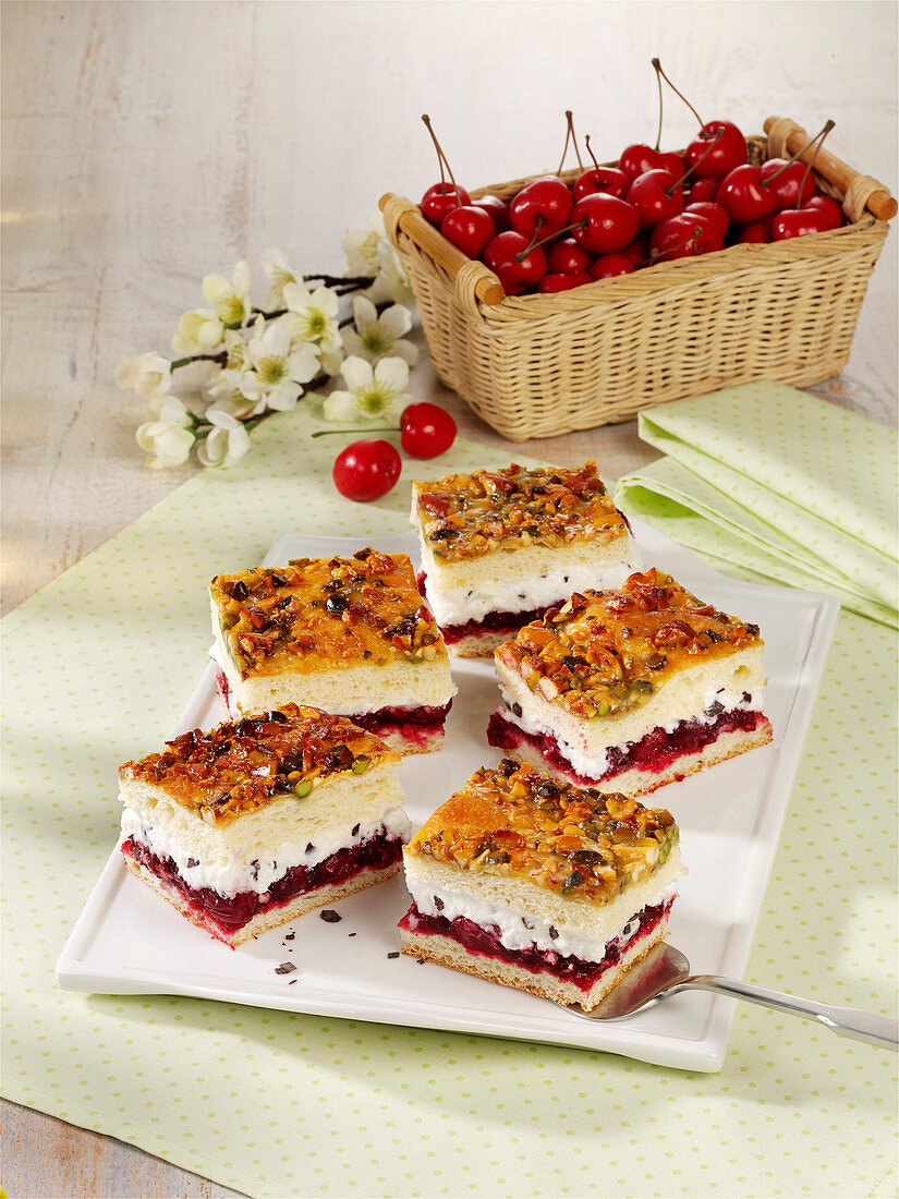 Black Forest-style Bienenstich (caramelised almond cake)