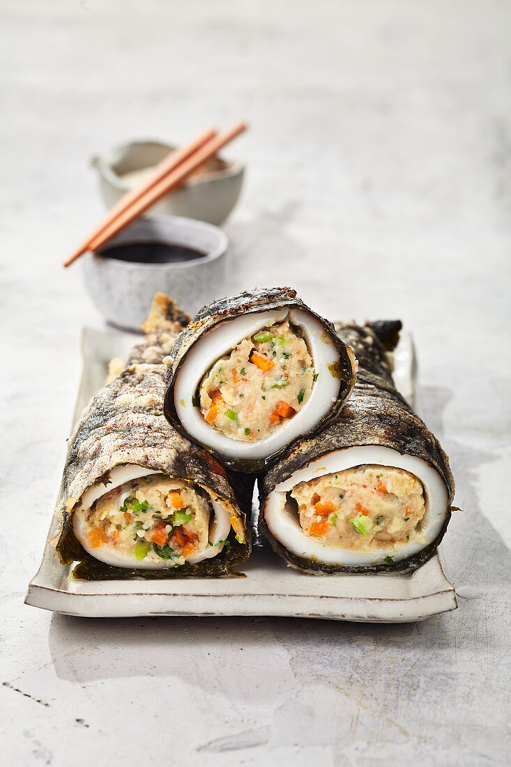 Sushi-style fried squid rolls