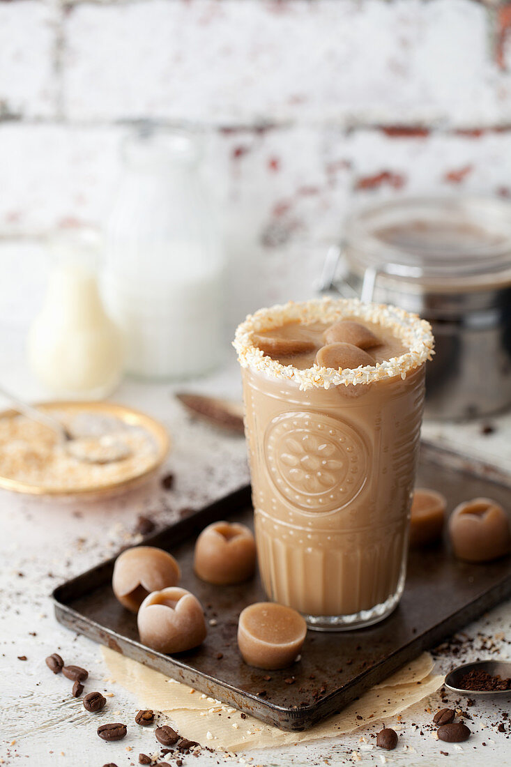 Iced coffee with coffee ice cubes