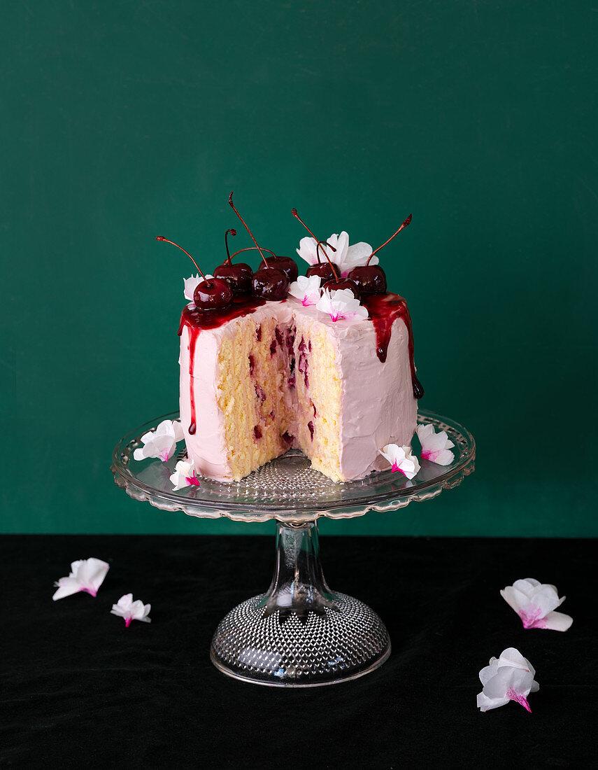 Sponge cake with quark and marcarpone cream and port wine cherries