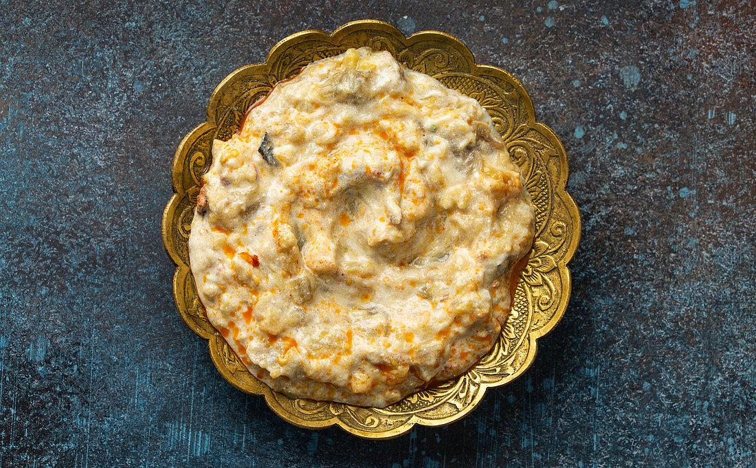 Baba Ganoush - traditional Turkish meze of yoghurt and roasted aubergine