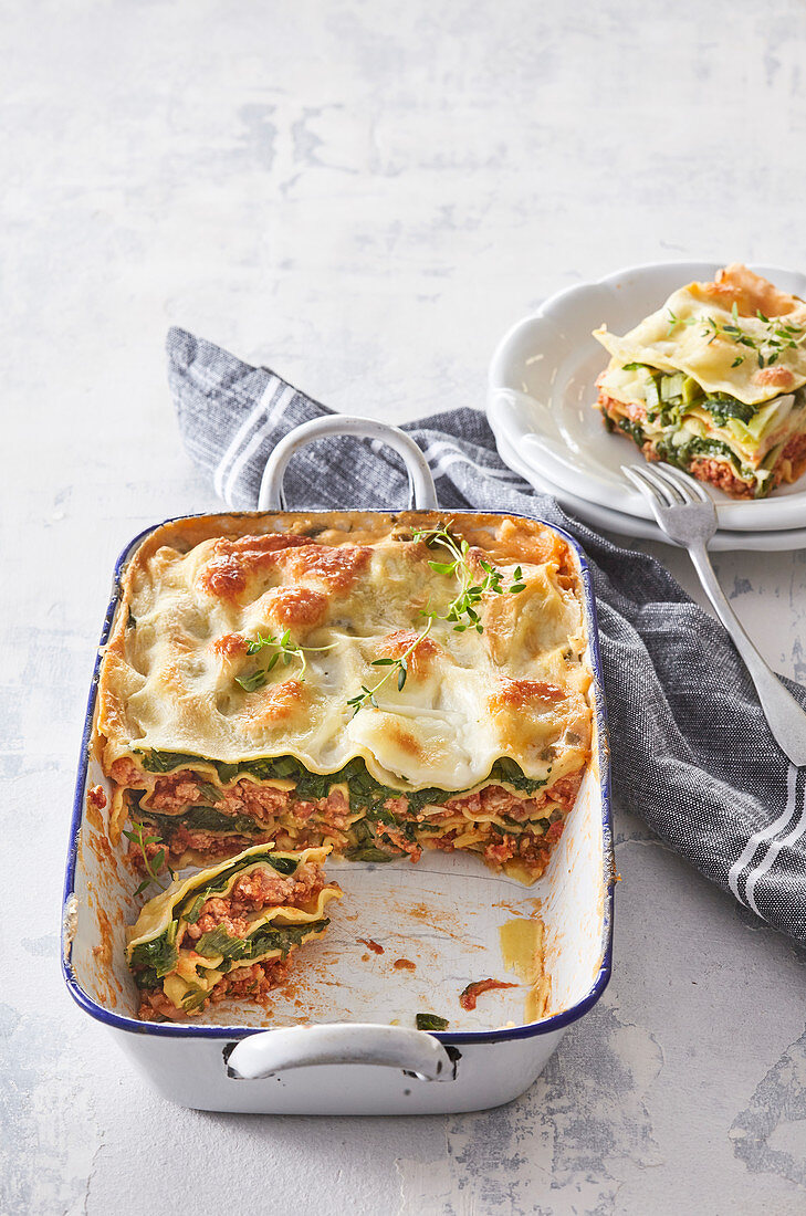 Baked lasagna with meat and chard