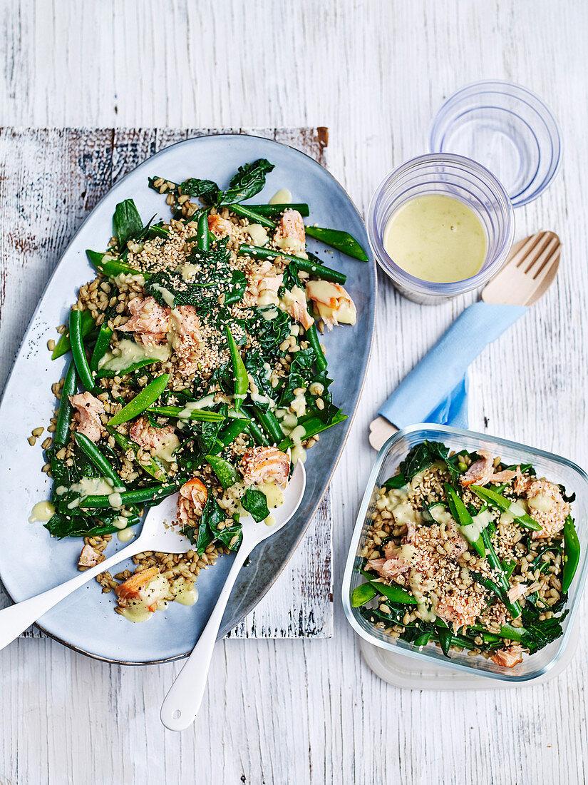 Salmon, barley and tahini greens salad 'to go'