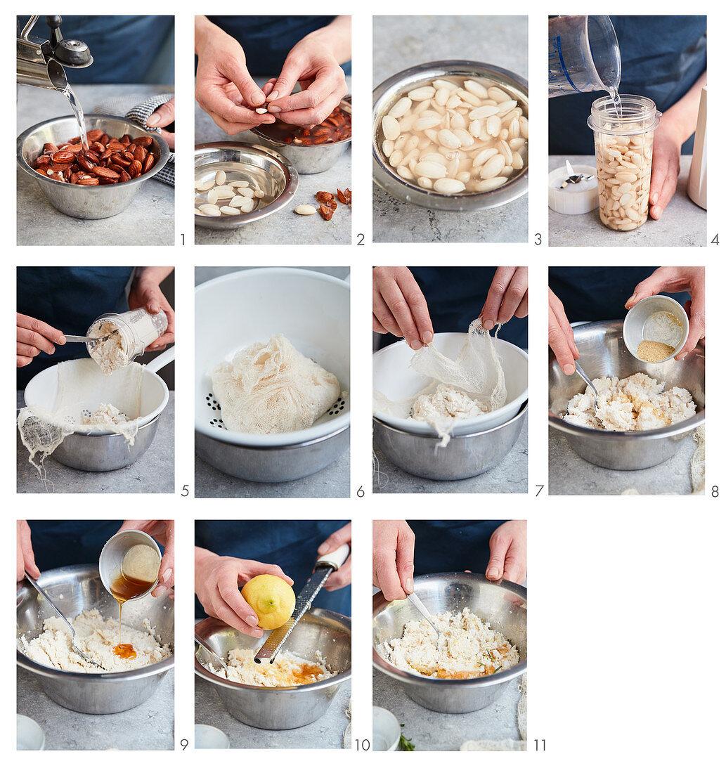 Preparing 'Mel i Mato' (almond cheese for vegans)