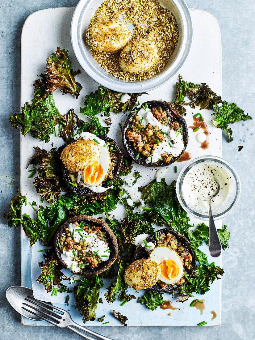 Grilled Mushroom with Dukkah Eggs and Crispy Kale