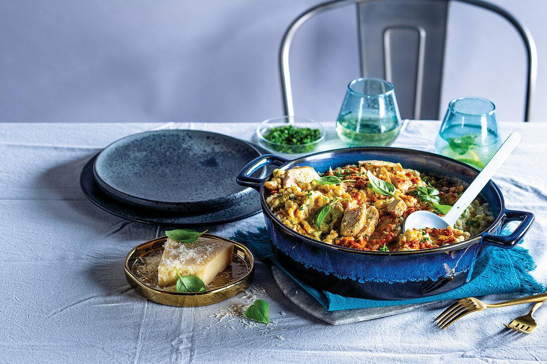 Italiena risotto with chicken breast
