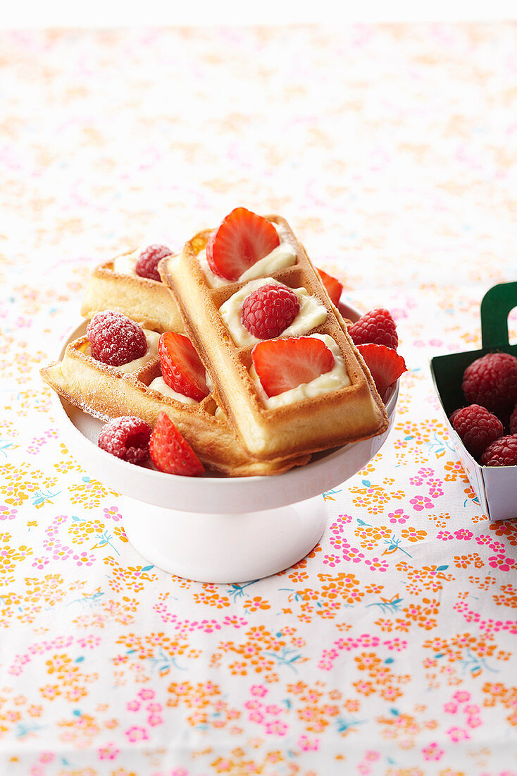 Creamy waffles with strawberries and raspberries
