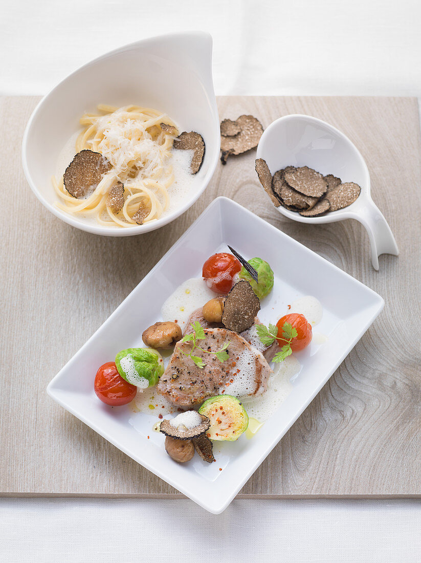 Pork fillet with truffle pasta