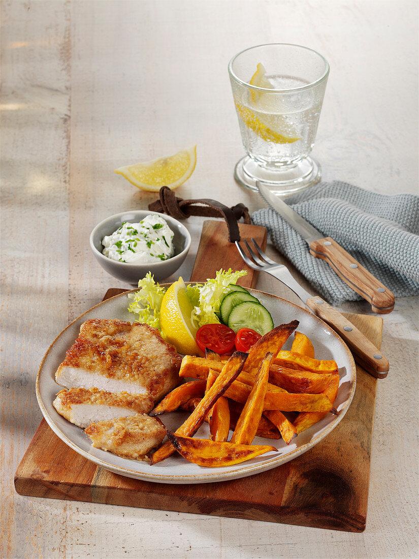 POrk escalope with sweet potato fries and herb quark