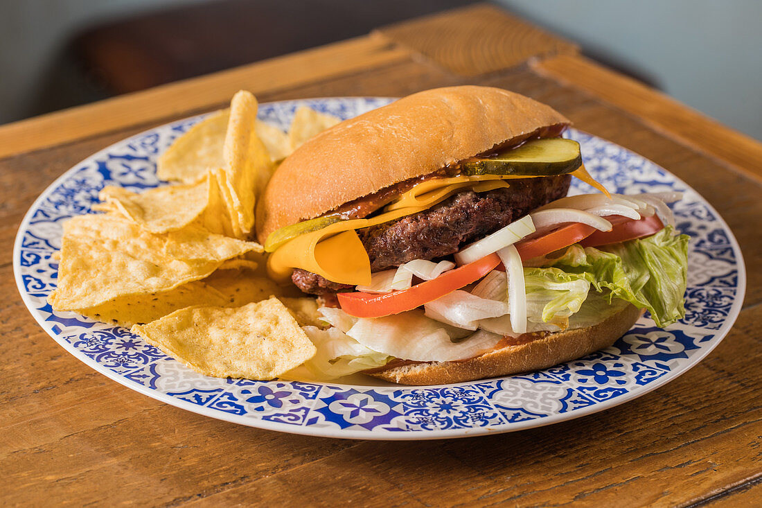 Burger with cheddar cheese and various vegetables on plate