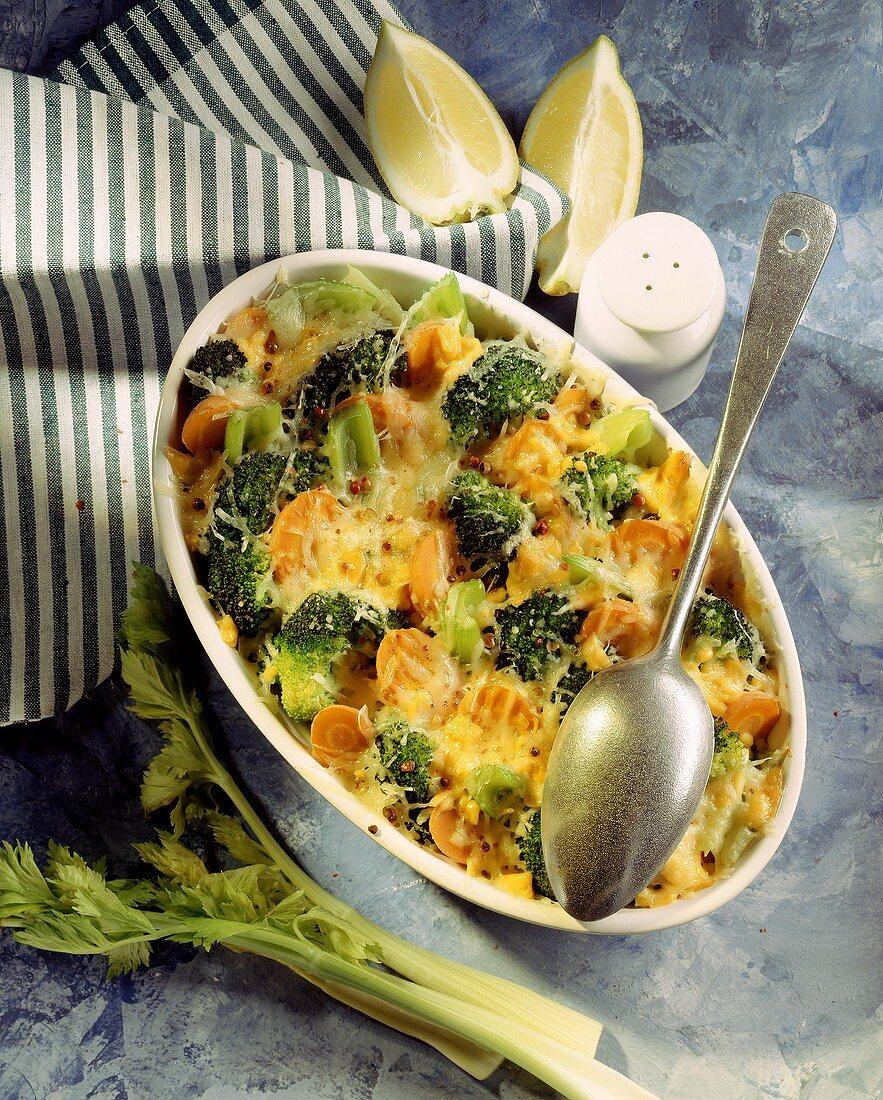 Carrot and broccoli gratin