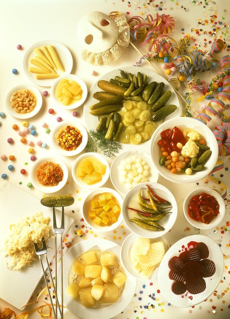Mixed pickles & pickled vegetables with party decorations