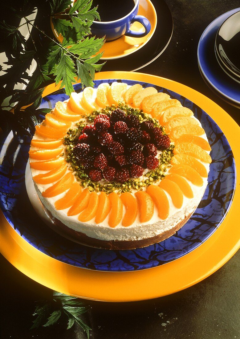 Apricot cream cheesecake with blackberries
