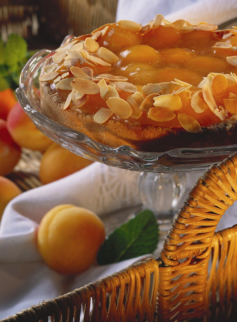Apricot gateau with almond border on cake stand