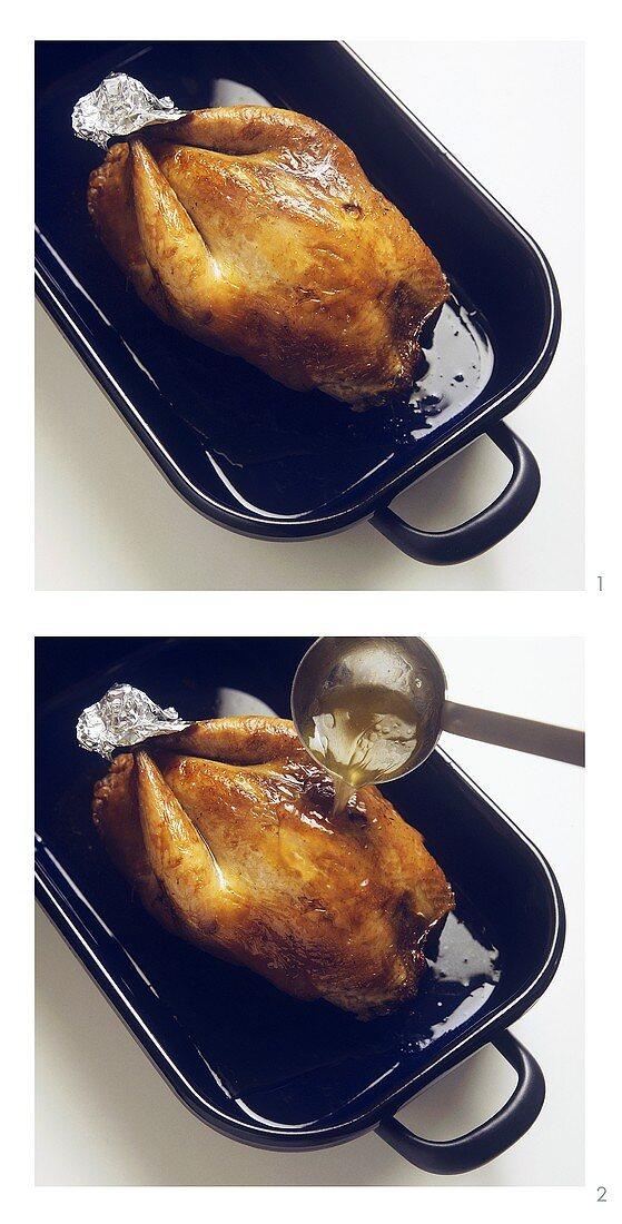 Basting chicken in roasting dish