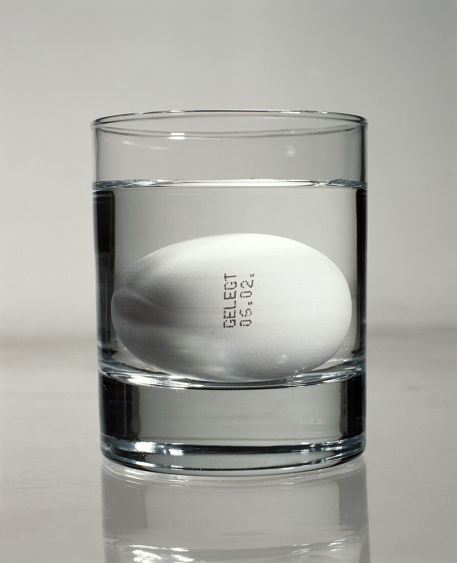 Fresh egg with laying date in glass of water (freshness test)