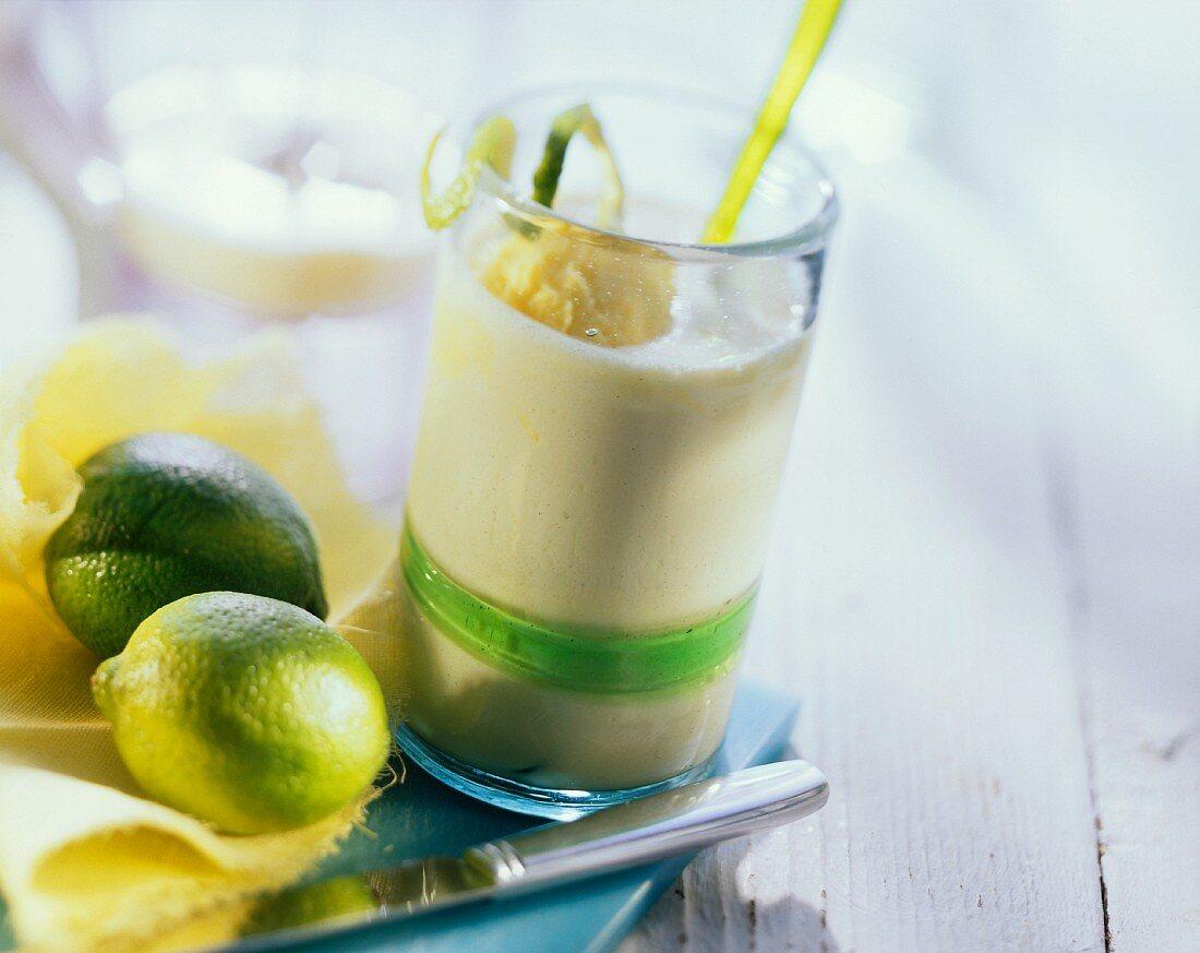 Power drink: pineapple kefir with mango yogurt ice cream