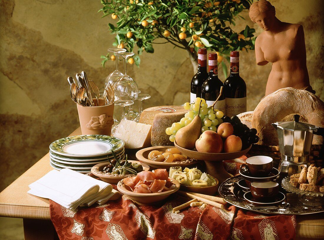 Italian buffet with appetisers, cheese, fruit, espresso etc